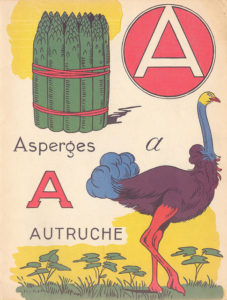 Page from a French ABC picture book for the letter A, showing asparagus and an ostrich