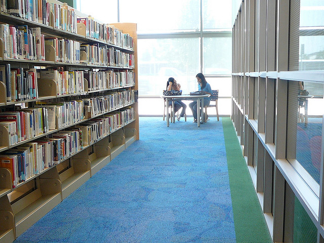 Two students working at a table near bookshelves in a library
