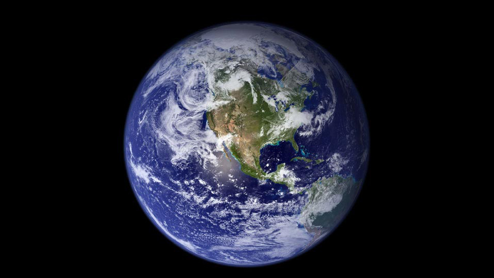 Photo of Earth from space, showig the North American Continent