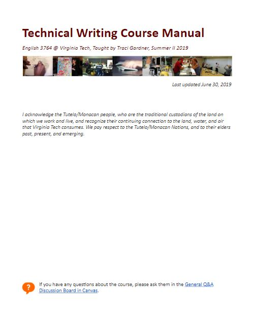 Cover page of Technical Writing Course Manual, featuring the document's title and a collage of photos of people writing in the workplace