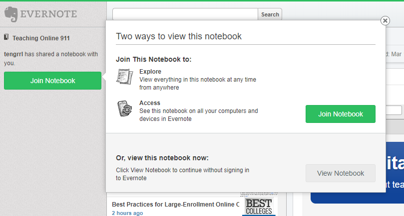 Evernote Public Notebook screenshot, showing the Join or View options