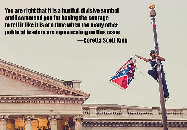 Meme showing Bree Newsome removing the Confederate flag from the South Carolina Statehouse in 2015 with a quotation from Coretta Scott King