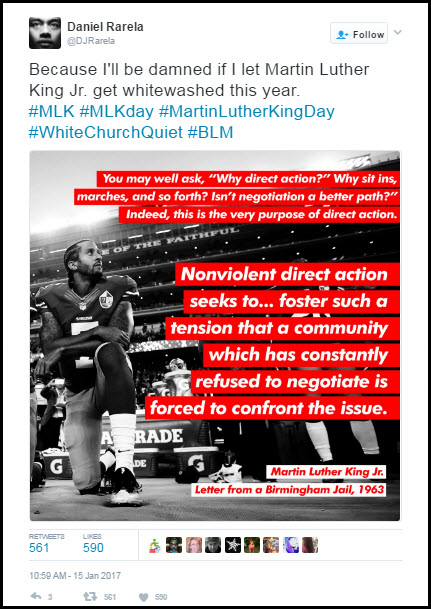 Rarela's Meme of Colin Kaepernick with MLK Jr quotation on direct action