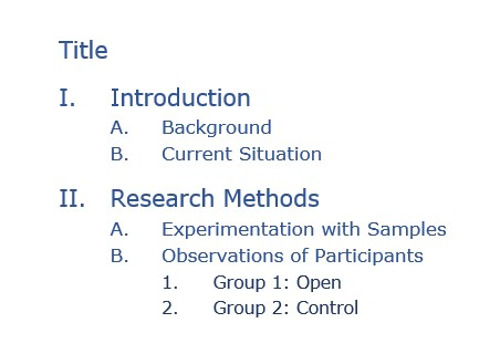 Beginning of an outline for a technical report