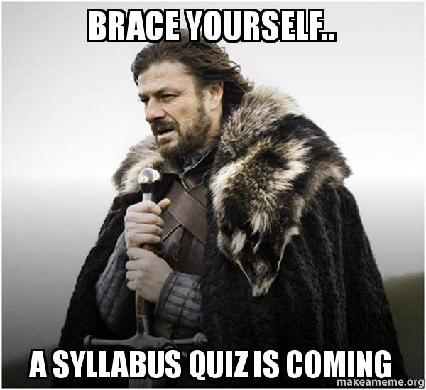 Game of Thrones character Eddard Stark meme with the caption 'Brace yourself . . . a syllabus quiz is coming'