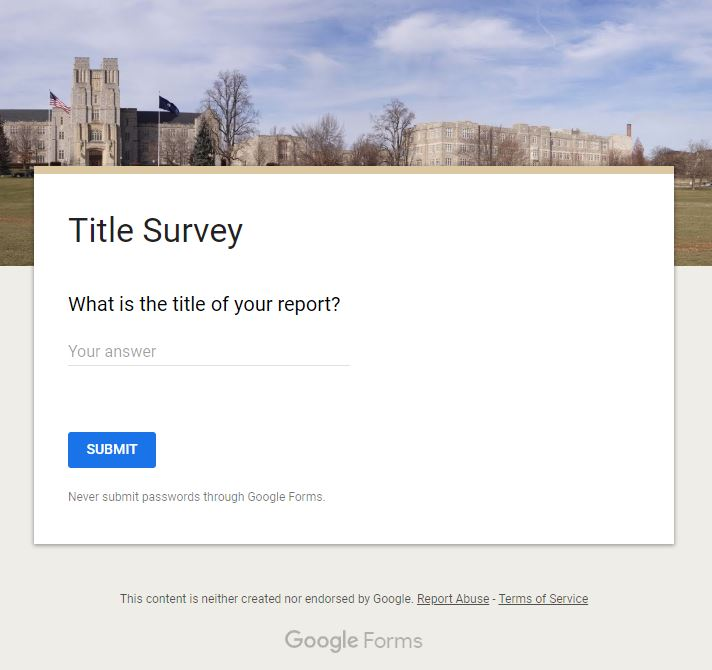 Screenshot of Title Survey Form