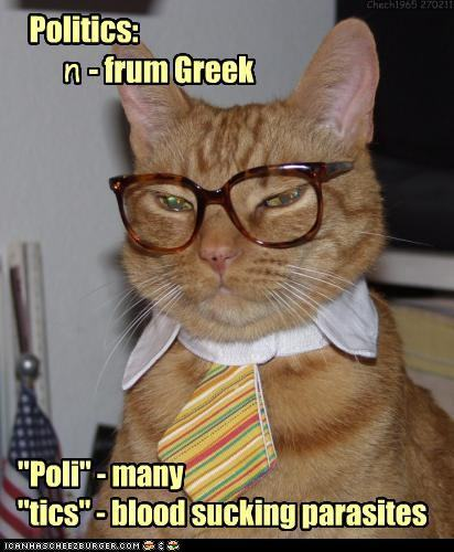 LOLcat defining Politics, with the captions, Politics: n - frum Greek. Poli - many, tics - blood sucking parasites